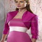 Custom Stock Fuchsia Taffeta 3/4 Long Sleeves Bridal Vest Shawl Evening Dress Bolero Jacket J58