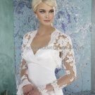 Ivory White Lace Bridal Dress Jacket Long Trumpet Sleeves Wedding Dress Bolero Jacket Size 8-16