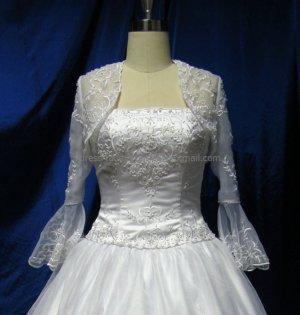 Ivory White Embroidery Custom  Bridal Dress 3/4 Sleeves Wedding Dress Beaded Bolero Jacket Size J34