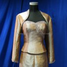Champagne Taffeta Custom  Bridal Dress 3/4 Sleeves Wedding Dress Beaded Bolero Jacket Size J44