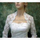 Ivory White Lace Bridal Dress Vest Shawl Jacket 3/4 Sleeves Wedding Dress Bolero Jacket Size J64