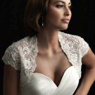 Ivory White Lace Bridal Dress Jacket Short Sleeves Wedding Dress Bolero Jacket Size 8-16