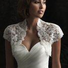 Ivory White Lace Bridal Dress Jacket Short Sleeves Wedding Dress Bolero Jacket Size 2-18