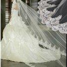 1 Tier Wide Luxury Lace Ruffles Tulle Wedding Veil 2.8X1.5 M Bridal Dress Veil