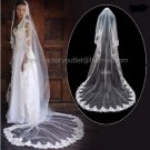 1 Tier Wide Tulle Lace Ruffle Wedding Veil 2.8X1.5 M Long Cathedral Bridal Veil  VL1A
