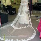 4 Tiers Wide Tulle Lace Edge Wedding Veil 2.8X1.5 M Long Cathedral Bridal Veil  VL19