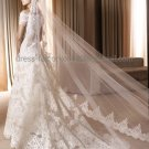 1 Tier Wide Tulle Lace Ruffle Wedding Veil 2.8X1.5 M Long Cathedral Bridal Veil  VL28