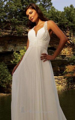 2012 Corss Back Chiffon Empire Waist Bridal Gown White Beading A-line Wedding Dress