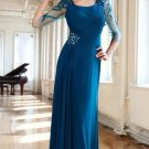 3/4 Sleeves Long Evening Dress A-line Teal Blue Chiffon Prom Dress Mother of the Bride Groom Dress
