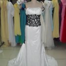 Strapless Bridal Gown White Taffeta Black Applique / Embroidery Beading Mermaid Wedding Dress