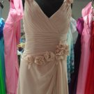 V-neck Prom Dress Pink Chiffon Long Mother of the Bride Dress Long Draped Rullfes Evening Dress