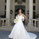 Discount  Lace Embroidery Bridal GownThin Straps Ivory White A-line V-neck Wedding Dress