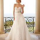 Discount  Lace Applique Bridal Gown Strapless Ivory White A-line Beaded Champagne SASH Wedding Dress
