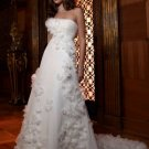 Discount  Tulle Floral Bridal Gown Strapless Ivory White A-line Beaded Green SASH Wedding Dress