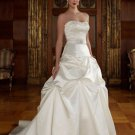 A-line Bridal Ball Gown StraplessEmbroidery Pleaded Satin Ivory White Wedding Dress W253