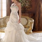 A-line Bridal Ball Gown StraplessLace Applique Taffeta Ivory White Wedding Dress W254