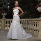 A-line Bridal Ball GownOne Shoulder Applique Taffeta Ivory White Wedding Dress W261