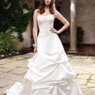 A-line Bridal Ball Gown Strapless Lace Pleaded Satin Ivory White Wedding Dress W265
