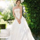 A-line Bridal Ball Gown Strapless Lace Applique Taffeta Ivory White Wedding Dress W266
