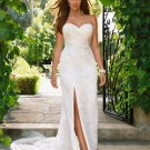 A-line White Lace Tulle Bridal Gown Strapless Sweetheart  Front Slit Wedding Dress W267