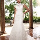 Alencon Lace Mermaid Bridal Gown Custom Ivory White Lace Wedding Dress Choker Neck Cap Sleeves W268
