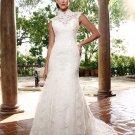 Alencon Lace Mermaid Bridal Gown Custom Ivory White Lace Wedding Dress Choker Neck Cap Sleeves W268