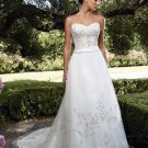 A-line Nature Waist Royal Bridal Dress Embroidery Custom Wedding Dress W269