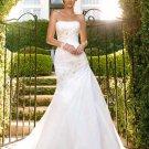 A-line Bridal Ball Gown Strapless Lace Applique Taffeta Ivory White Cheap Wedding Dress W270