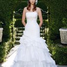 A-line Bridal Ball Gown Strapless Cascading Taffeta Ivory White Cheap Wedding Dress W277