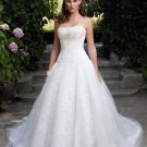 A-line Bridal Ball Gown Strapless Embroidery Lace Applique Tulle Ivory White Wedding Dress W278