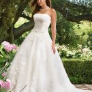 A-line Bridal Ball Gown Strapless Lace Applique Organza Ivory White Wedding Dress W284