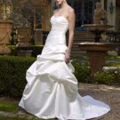A-line Bridal Ball Gown Pleaed Strapless Satin Simple Ivory White Wedding Dress W287