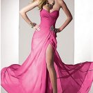 Strapless Pink Fuchsia Black Green Chiffon Evening Dress A-line Prom Dress Front Slit Formal Gown