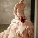 Strapless Ballgown Draped Corset Pink White Organza Bridal Wedding Dress