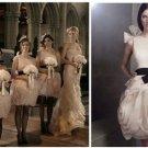 A-line One Shoulder Corset White Organza Short Bridal Wedding Dress Bridesmaid Dress