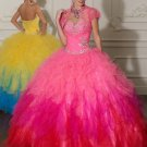 Strapless Multi Colors Pink  Red Yellow Ball Gown Cascading Ruffles A-line Quinceanera Dress