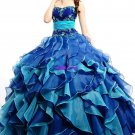 Strapless Multi Colors Blue Organza Jeweled Ball Gown Cascading Ruffles A-line Quinceanera Dress