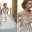 Multi Colors Flowers Off Shoulder Nude Waist Jeweled Bridal Ball Gown A-line Quinceanera Dress