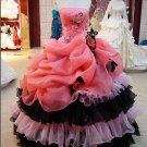 Strapless Multi Colors Red Pink Black Organza Gothic Bridal Ball Gown A-line Quinceanera Dress