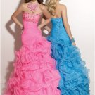 Strapless Pink Blue Organza Ball Bridal Gown Prom Dress Cascading Ruffles A-line Quinceanera Dress