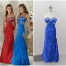 Strapless Sweetheart Red Blue SATIN Bridal Party Dress Prom Dress Mermaid Rcushed Evening Gown