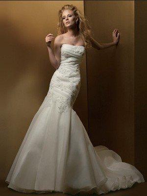 Strapless Alencon Lace Applique Organza Bridal Gown Mermaid Wedding Dress Chapel Train