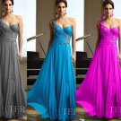 One Shoulder Aqua Blue Chiffon Bridal Evening Dress Pleated A-line Prom Dress Formal Gown