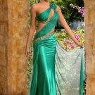 One Shoulder Green Chiffon Bridal Evening Dress Pleated Sheath Prom Dress Sexy Party Gown