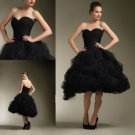 Strapless Short Bridal Ball Gown Ruched Black Tulle Ankle Length Wedding Dress