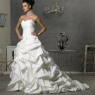 A-line Bridal Ball Gown Strapless  Sweetheart White Taffeta Corset Ivory White Wedding Dress Gown