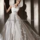 Custom  Strapless SATIN Bridal Gown With Ivory Alencon Lace Jacket Wedding DresS pv308
