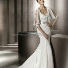 Custom Mermaid Bridal Gown With Ivory Lace Long Slit Sleeves Wedding DresS pv305