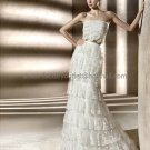 Custom Mermaid Sheath Bridal Gown Strapless Cascading Ruffles Lace Layered Wedding Dress pv301