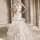 A-line Creped Pink Organza Bridal Ball Gown Bidasoa Strapless Ruffles Wedding Dress Laces Back pv317